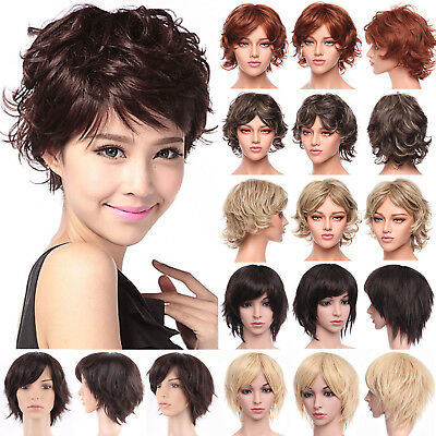 Straight Bangs Full Wig Synthetic Hair Glueless Curly Blonde Highlight Fashion