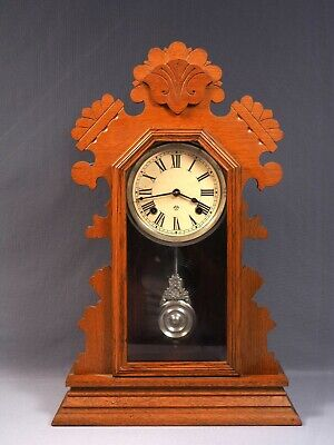 Antique Ansonia Shelf Clock Bedford Oak Gingerbread Case 8 Day C.1894 WORKS