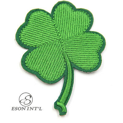4Pcs Green Four-leaf Clover Patch Embroidered Applique Iron On Bag Cloth Lucky
