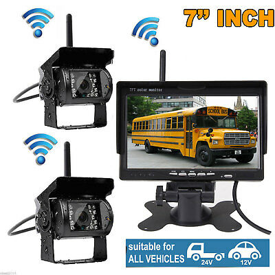 """7"""" LCD Monitor+2x Wireless Rear View Backup Camera Night Vision for RV Truck Bus"""