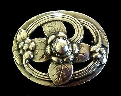 1913 Georg Jensen #138 Sterling Dogwood Floral Pin Art Nouveau Early Excellent
