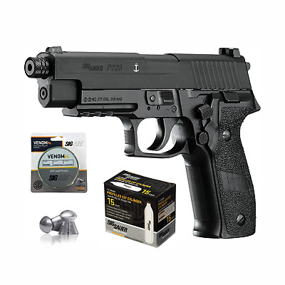 SIG Sauer P226 Air Pistol with CO2 12 Gram (15 Pack) and 500 Lead Pellets Black