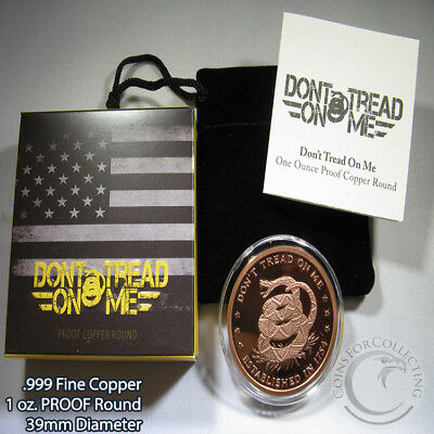 "PROOF ""Don't Tread on Me"" 1 oz .999 Copper Round Very Limited and Rare"