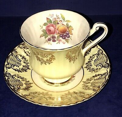 Paragon England Fine Bone China F68H Yellow Floral & Fruit Tea Cup & Saucer
