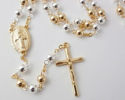 Gold & Silver Plated Rosary Beads w/Booklet Catholic Baptism Communion Gifts