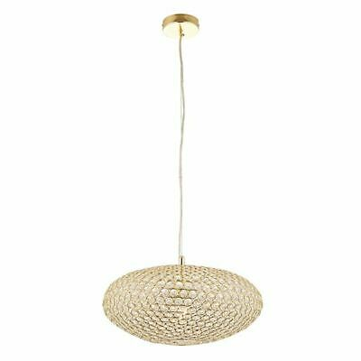 Stunning 1Lt Ceiling Pendant Light Gold Brass Plate With Crystal Glass Shade