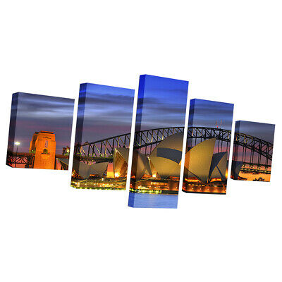 Large Canvas Print Art Wall Picture 5 Panels Sunset Ocean Framed Opera