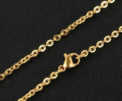 Lot 10pc 2.3m Cross Link Chain Gold Stainless steel Necklace in bulk fit pendant