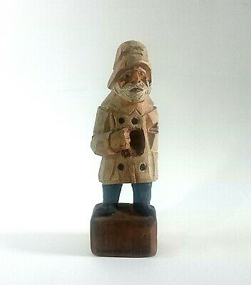 Vintage Hand Wooden Carved German paint Doll Black Forest Beard Man Figurine old