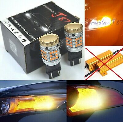 Hyper Flash Free LED Light CK 3157 Amber Orange Two Bulbs Front Turn Signal DRL