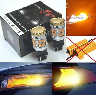 Canbus Error Free LED Light CK 3157 Amber Two Bulb Front Turn Signal DRL Upgrade