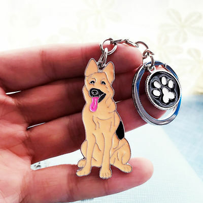German Shepherd Keychain Dog Puppy Pet Keyring Key Chain Ring Fob Pendant