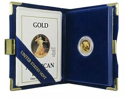 1996 W - Proof American Gold Eagle 1/10 oz $5 West Point Mint Case Box & COA
