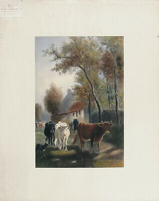 EMILE VAN MARCKE Antq Rare 1902 Hand Colored Litho A GOLDEN AUTUMN DAY Det. Pub.