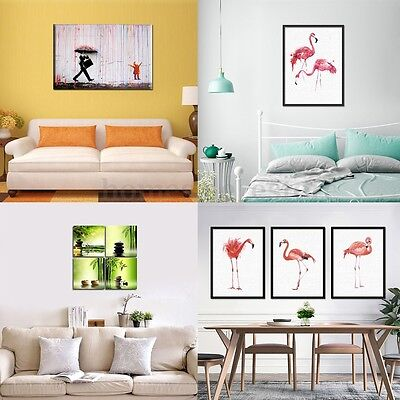 Modern Abstract Flamingo Zen Art Canvas Watercolor Painting Wall Decor Picture
