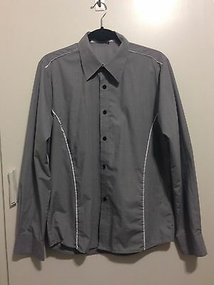 Mens Grey Shirt with White Trim, Size S