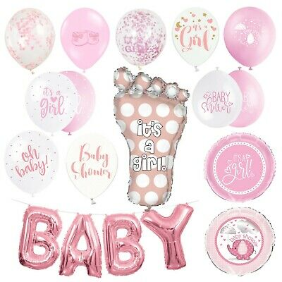 BABY SHOWER BALLOONS - Latex, Foil, Helium, Girl, Pink, Hearts, Star, Party