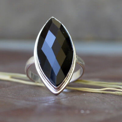 Marquise Cab Faceted Black Onyx  Gemstone 925 Sterling Silver Ring Size 8