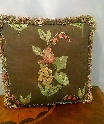 Up for auction is a beautiful decorative pillow with tulips and decorative fring