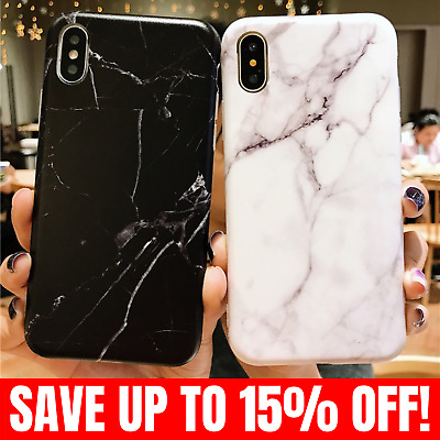 Luxury Marble Case Cover and Glass Screen Protector iPhone X Xs Max XR 8 7 Plus