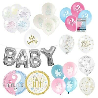 BABY SHOWER BALLOONS - Latex, Foil, Helium, Unisex, Neutral, Cream, White, Party