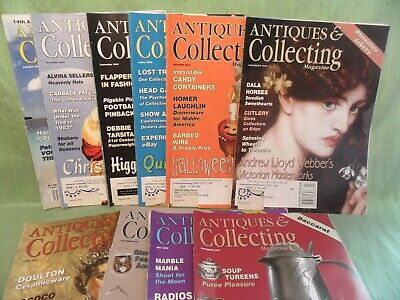 10 Issues Antiques & Collecting Magazine 2002 2003 Doulton Vaseline Quimper