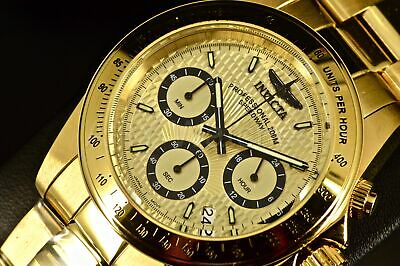 14929 Invicta 40MM Speedway Racer Tachymeter 18k ALL GOLD Chrono SS Bracelet Wat