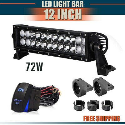 12Inch LED Light Bar Bumper Grill S+F Combo +Wiring For Jeep Ford Truck Offroad