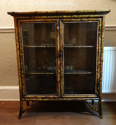 Victorian Bamboo Bookcase Display Cabinet (Courier)
