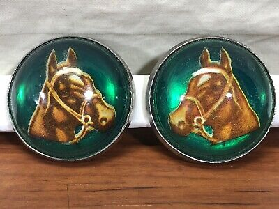 Vintage Antique Pair Of MAST Glass Domed Horse Head Old Horse Bridle Rosettes
