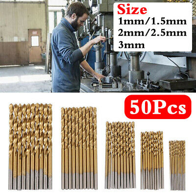 50x Micro Round Shank Drill Bits Set Small Precision HSS Twist Drill Tool DIY uk