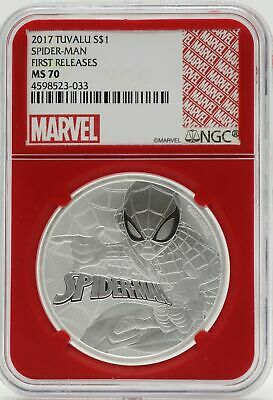 2017 Tuvalu Spider-Man 1 Oz Silver NGC MS70 First Releases Redcore - JB519