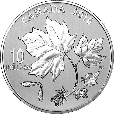 2016 'Canadian Maple Leaves' Specimen $10 Silver Coin 1/2oz .9999 Fine (17644)NT