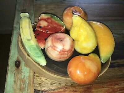 Vtg Alabaster Marble Stone Fruit Large Banana-Mango-Apple -Pear W.mellon Peach