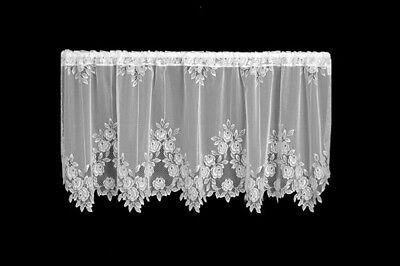 Tea Rose Lace White Window Valance by Heritage Lace