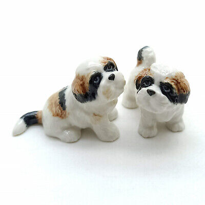 2 Shih Tzu Dog Figurine Ceramic Animal Puppy Baby Miniature Statue - CDG193