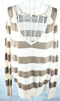 Free People Pullover Top Ladies Size Small Striped Brush Comb Long Sleeve Vneck