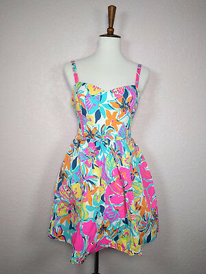 15566640e911eb Lilly Pulitzer Besame Mucho Christine Sundress Pockets Floral Pink Size 8