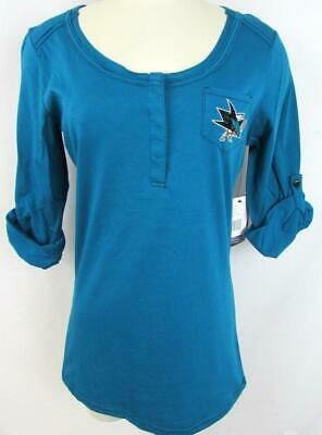 San Jose Sharks Womens Medium or Large Touch Embroidered Henley Shirt ASJS 31
