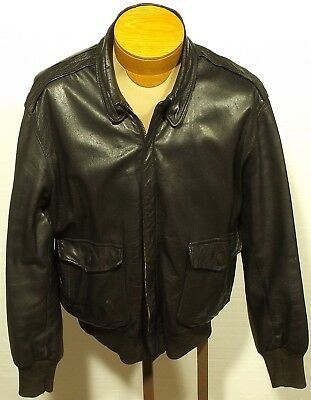 63818aa1b MENS VINTAGE L.L. Bean Distressed Leather A2 Brown Flight Bomber ...