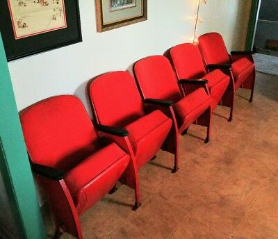 A Row Of 4 Heywood Wakefield Movie Theatre Seats - Vintage Theater Seat Set