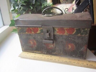 Antique American Tole Document Box - 7-1/2 In Paint Decorated - 19th C