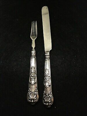 Antique English Sterling Silver Francis Clark Butter Knife & Fork