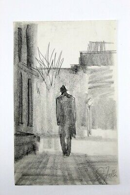 John Falter. Original pencil/charcoal drawing of a man walking away
