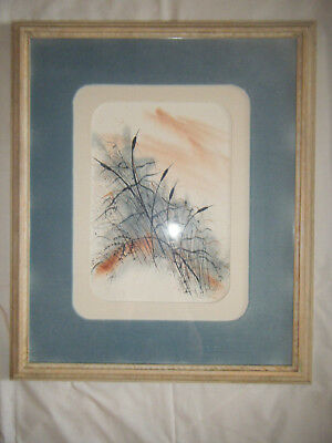 Signed QUANNAH RICE Watercolor PAINTING Framed & Matted Oklahoma Artist