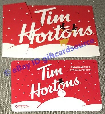 Tim Hortons Holiday 2018 Gift Card+Sleeve Winter Snowman Canada No Value Fd63320