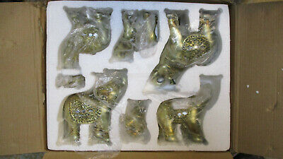 Set of 6 Gold Color Lucky Elephants Statues Feng Shui Figurine Home Decor