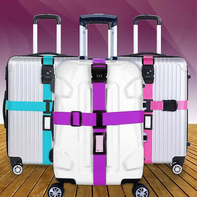 Luggage Cross Adjustable Travel Suitcase 3 Digit Password Lock Buckle Belt Strap