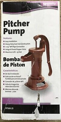Cast Iron Well Pitcher Pump Heavy Duty Hand Water 25 ft Max Lift Shallow Red
