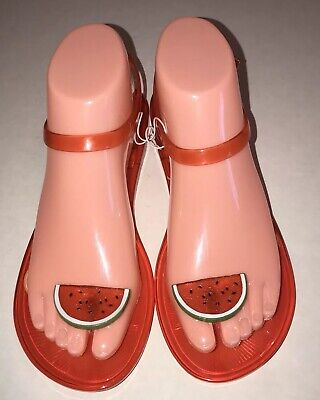 fae3c6c4bd13 Katy Perry The Geli Watermelon Scented Sandals Red Novelty Flat Womens Size  6